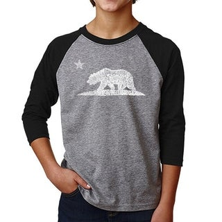 LA Pop Art Boy's Raglan Baseball Word Art T-shirt - California Bear