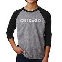 LA Pop Art Boy's Raglan Baseball Word Art T-shirt - CHICAGO NEIGHBORHOODS