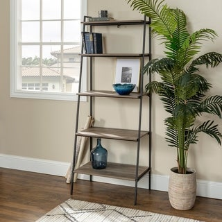 72 Inch Urban Industrial Metal and Wood Ladder Shelf