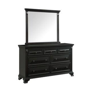 Picket House Furnishings Trent 7-Drawer Dresser w/ Mirror Set in Antique Black