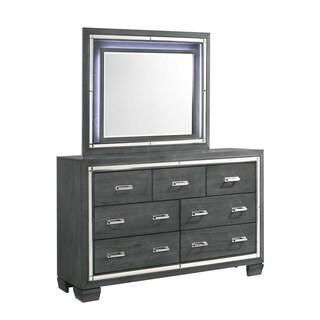 Picket House Furnishings Kenzie 7-Drawer Dresser w/ Mirror Set - Grey