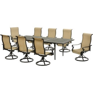 Hanover Brigantine 9-Piece Dining Set with an Expandable Cast-Top Dining Table and 8 Sling Swivel Rockers