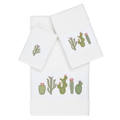 Authentic Hotel and Spa Turkish Cotton Cactus Embroidered White 3-piece Towel Set