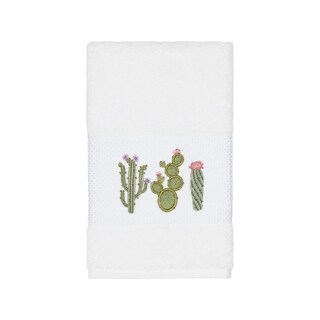 Authentic Hotel and Spa Turkish Cotton Cactus Embroidered White Hand Towel