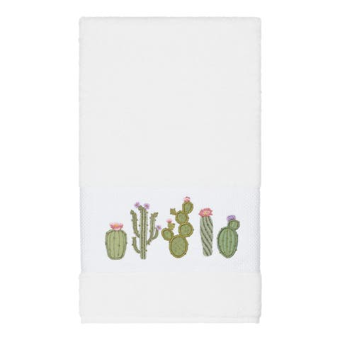 Authentic Hotel and Spa Turkish Cotton Cactus Embroidered White Bath Towel