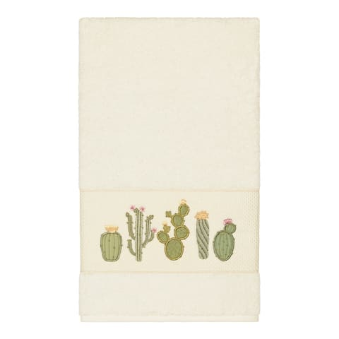 Authentic Hotel and Spa Turkish Cotton Cactus Embroidered Cream Bath Towel