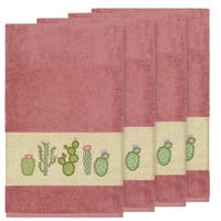 Authentic Hotel and Spa Turkish Cotton Cactus Embroidered Tea Rose 4-piece Bath Towel Set