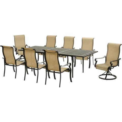 Hanover Brigantine 9-Piece Dining Set with an Expandable Dining Table, 2 Swivel Rockers, and 6 Dining Chairs