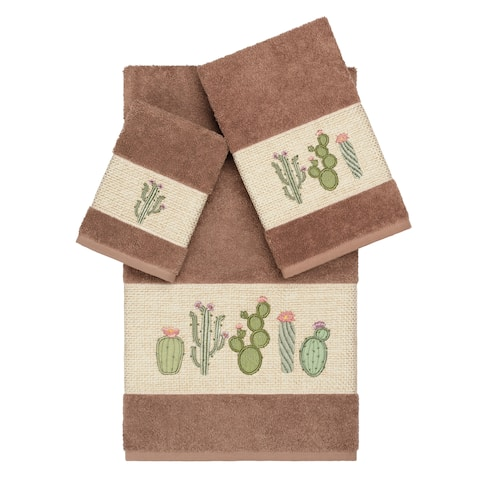 Authentic Hotel and Spa Turkish Cotton Cactus Embroidered Latte Brown 3-piece Towel Set