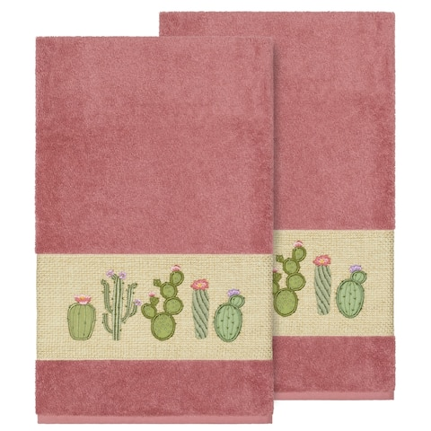 Authentic Hotel and Spa Turkish Cotton Cactus Embroidered Tea Rose 2-piece Bath Towel Set