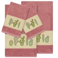 Authentic Hotel and Spa Turkish Cotton Cactus Embroidered Tea Rose 4-piece Towel Set