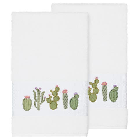 Authentic Hotel and Spa Turkish Cotton Cactus Embroidered White 2-piece Bath Towel Set