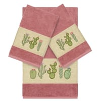 Authentic Hotel and Spa Turkish Cotton Cactus Embroidered Tea Rose 3-piece Towel Set
