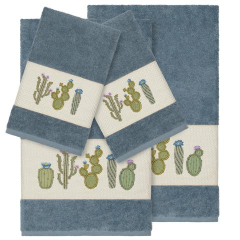 Authentic Hotel and Spa Turkish Cotton Cactus Embroidered Teal Blue 4-piece Towel Set