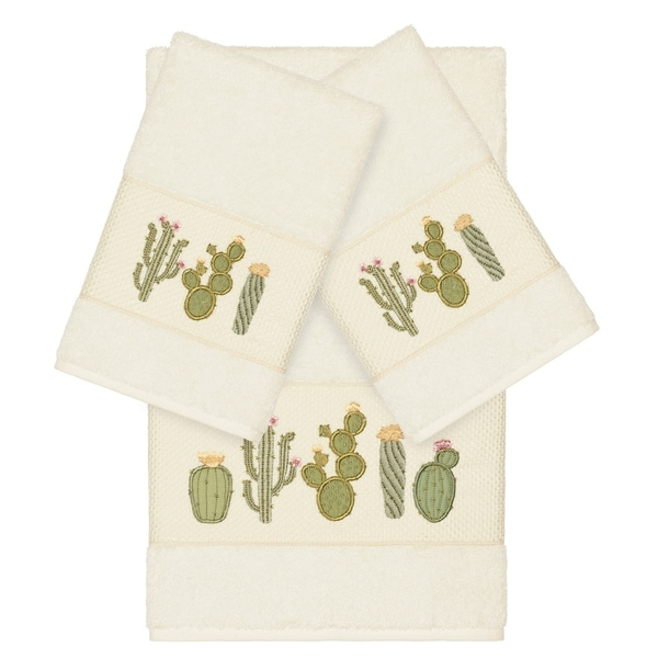 Authentic Hotel and Spa Turkish Cotton Cactus Embroidered Cream 3-piece Towel Set