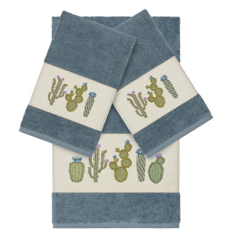 Authentic Hotel and Spa Turkish Cotton Cactus Embroidered Teal Blue 3-piece Towel Set