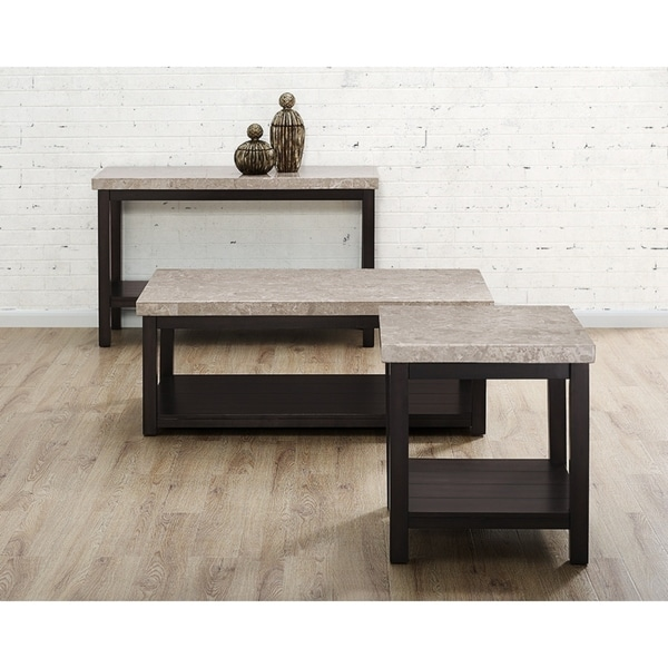Picket House Furnishings Caleb Espresso Finish Marble Top Occasional - Espresso finish coffee table set