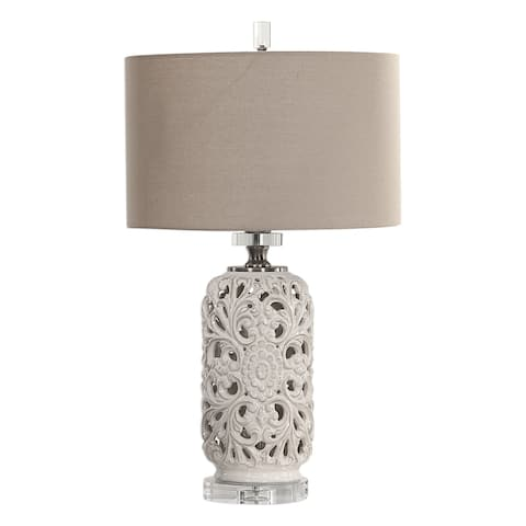Uttermost Dahlina Plated Brushed Gun 1-light Table Lamp