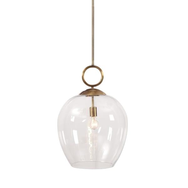Uttermost Calix Aged Brass Steel/Glass 1-light Pendant. Opens flyout.