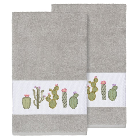 Authentic Hotel and Spa Turkish Cotton Cactus Embroidered Light Grey 2-piece Bath Towel Set