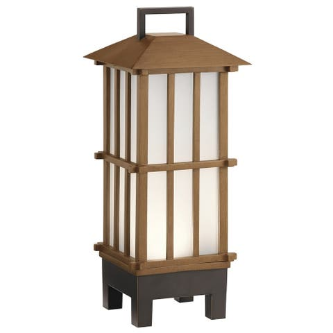 Kichler Lighting Davis Collection 1-light Bamboo Wood LED Bluetooth Portable Lantern