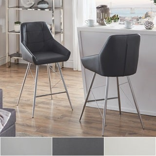 Jeana Geometric Faux Leather and Chrome Finish Counter Height Chairs (Set of 2) by iNSPIRE Q Modern