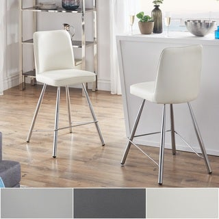 Jeana Smooth Faux Leather and Chrome Finish Counter Height Chairs (Set of 2) by iNSPIRE Q Modern