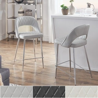 Jeana Faux Leather and Chrome Finish Counter Height Chairs (Set of 2) by iNSPIRE Q Modern
