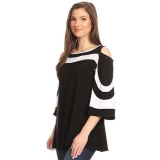 High Secret Women's Block Color Cold Shoulder Blouse