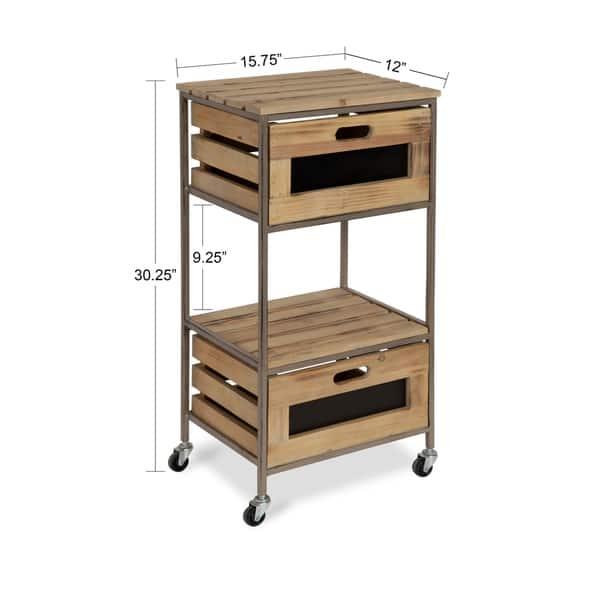 Shop Gannon Rustic Farmhouse Storage Kitchen Utility Cart ...