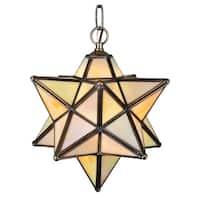12 Inch Wide moravian star beige iridescent Pendant