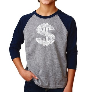 LA Pop Art Boy's Raglan Baseball Word Art T-shirt - Dollar Sign