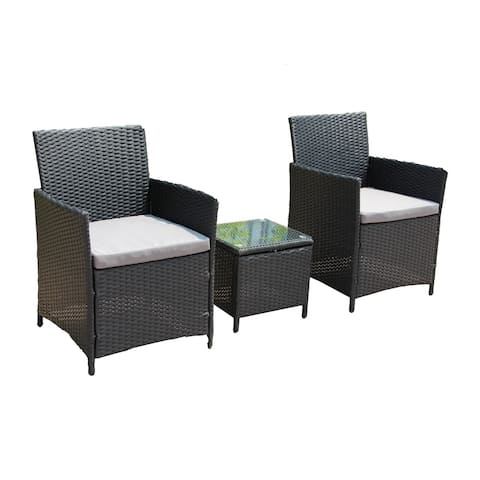 ALEKO Wicker Patio Rattan Outdoor Garden Furniture Set of 3 pcs