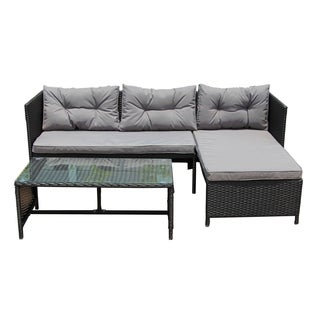 ALEKO Rattan Wicker Outdoor Sectional Furniture Set Black