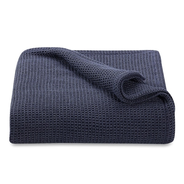 cf0605512 Shop Homvare King Soft 100% Premium Cotton Waffle Weave Blanket/Throw -  Blue - Free Shipping Today - Overstock - 22108171
