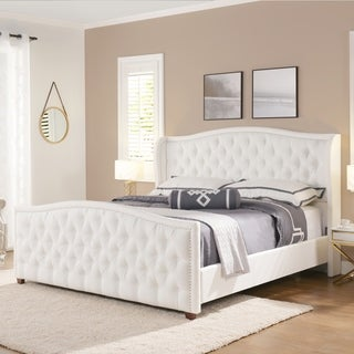 Gracewood Hollow Aghtsetsi Tufted Wingback Upholstered Bed