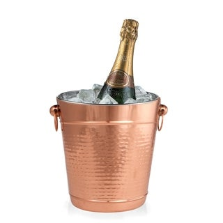 Copper Stainless Steel Champagne Bucket - Hammered Wine Bottle Cooler - Large Ice Bucket