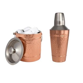 Copper 25 Oz Stainless Steel Cocktail Shaker & Double Wall Ice Bucket Combo Set