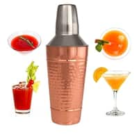 25 Oz Copper Stainless Steel Cocktail Shaker - Cocktail Mixer W/ Jigger Cap & Strainer