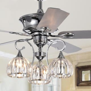 Buy crystal ceiling fans online at overstock our best lighting mavyn 5 blade 52 inch chrome ceiling fan with 3 light crystal chandelier aloadofball Images