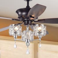 Tibedo 5-Blade 52-Inch Dark Brown Ceiling Fan with 3-Light Crystal and Chrome Chalice Chandelier (Remote Controlled)