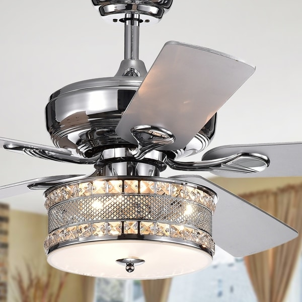 Davrin 5-Blade 52-Inch Chrome Lighted Ceiling Fans with 3-Light Crystal Drum Lamp (Optional Remote)