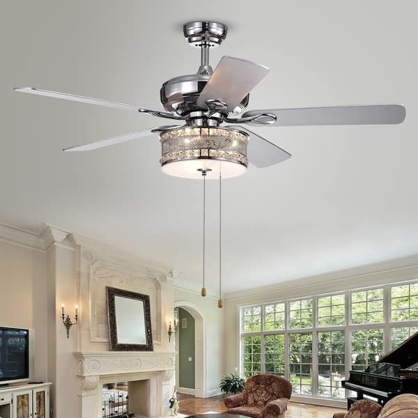 Davrin 5 Blade 52 Inch Chrome Lighted Ceiling Fans With 3 Light Crystal Drum Lamp Optional Remote Overstock 22108344 Pull Chain