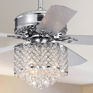 Deidor 5-blade 52-inch Chrome Ceiling Fan with 3-Light Crystal Chandelier (Remote Controlled & 2 Color Option)