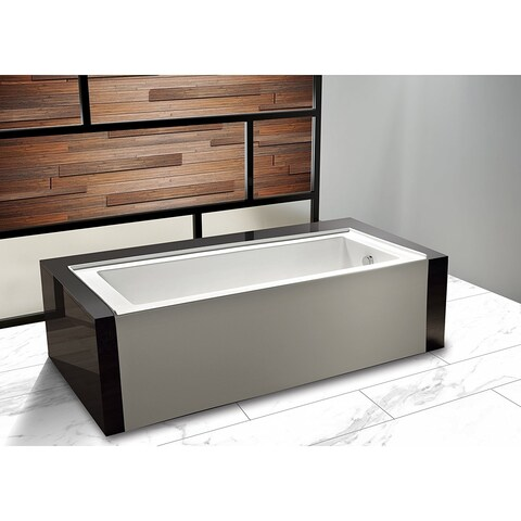 Dyconn Faucet Avalon Acrylic Rectangular Alcove Apro-Front Non-Whirlpool Bathtub in White