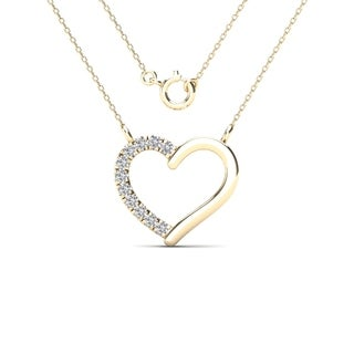 AALILLY 10k Yellow Gold Diamond Accent Heart Necklace (H-I, I1-I2)