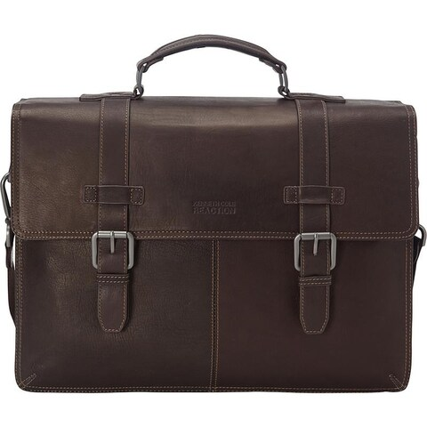 Kenneth Cole Reaction Colombian Leather Double Compartment Flapover 15in Computer Business Portfolio