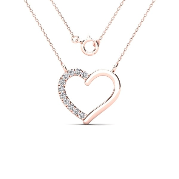 4c483f9e15a306 Shop AALILLY 10k Rose Gold Diamond Accent Heart Necklace (H-I, I1-I2 ...