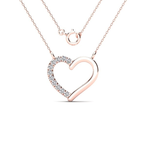 c6c58b3141c75 Shop AALILLY 10k Rose Gold Diamond Accent Heart Necklace (H-I