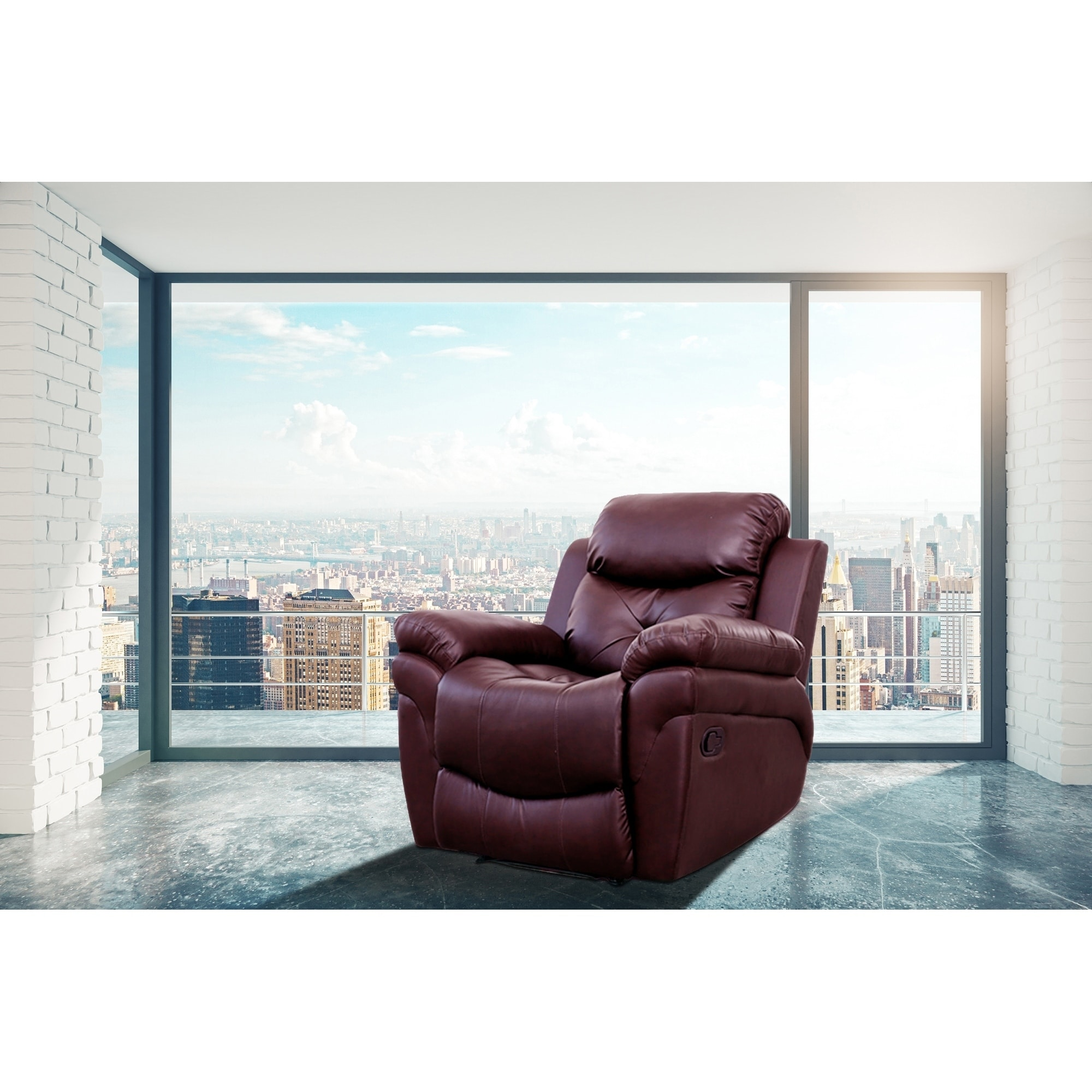 Rohan Burgundy Faux Leather 6 Points Heated Vibrating Massage Manual Recliner Arm Chair